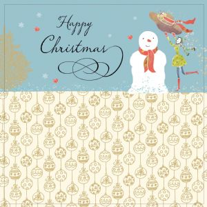 Snowman with Gold Foiling, Contemporary Design and Red Envelope KIS4